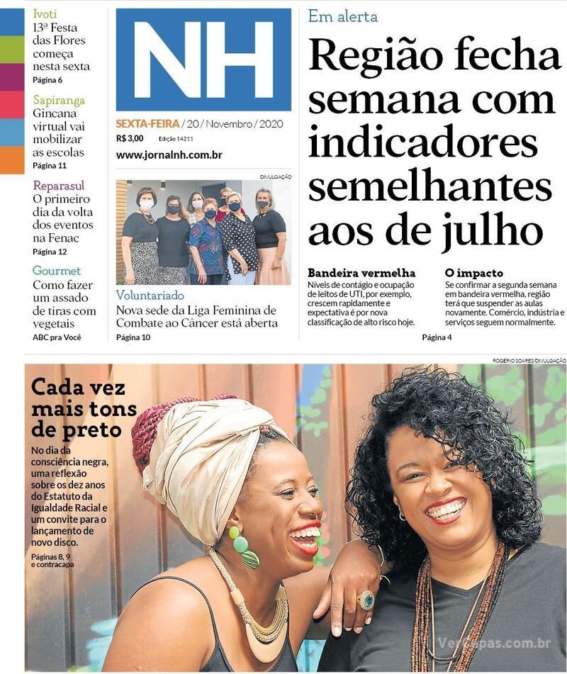 Capa do jornal Jornal NH 20/11/2020