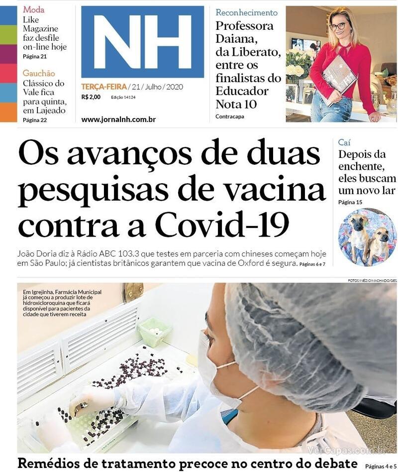 Capa do jornal Jornal NH 21/07/2020