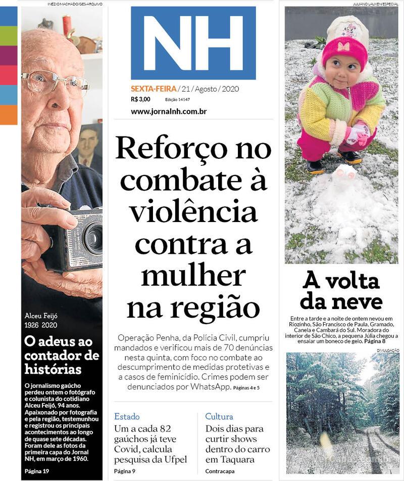 Capa do jornal Jornal NH 21/08/2020