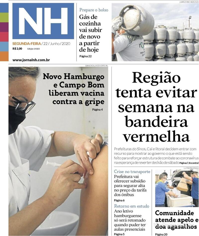 Capa do jornal Jornal NH 22/06/2020