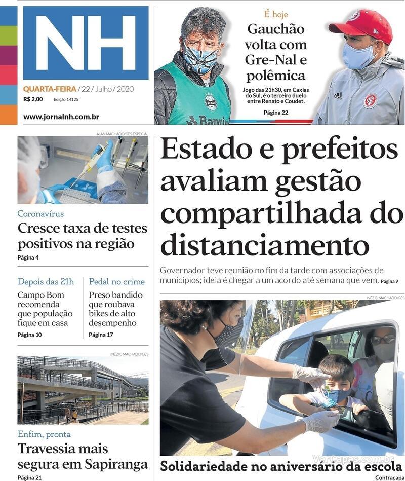 Capa do jornal Jornal NH 22/07/2020