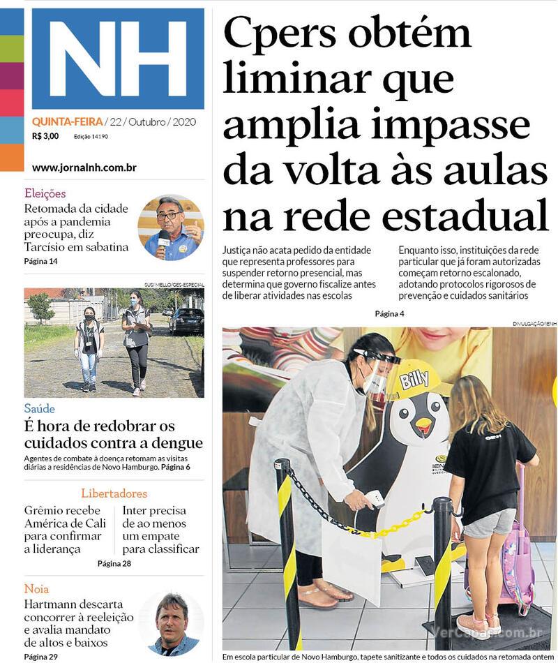 Capa do jornal Jornal NH 22/10/2020