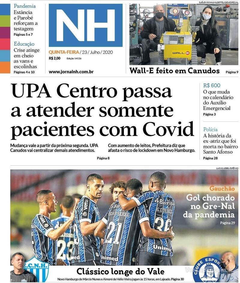 Capa do jornal Jornal NH 23/07/2020