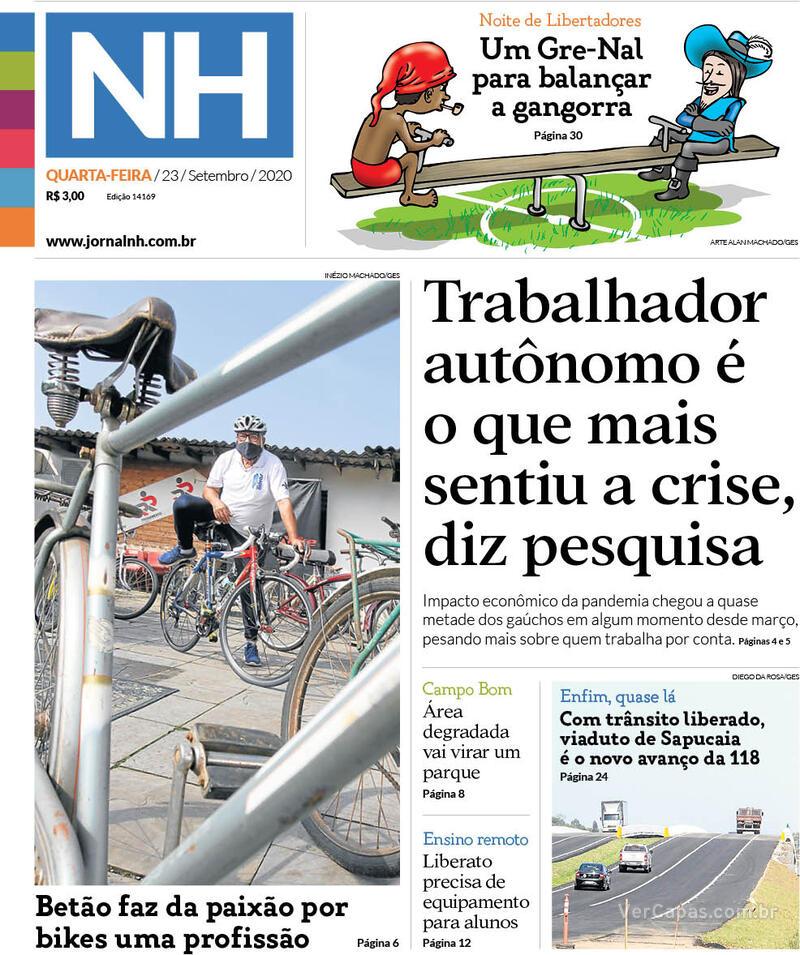 Capa do jornal Jornal NH 23/09/2020