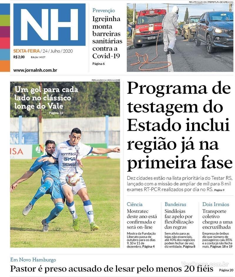 Capa do jornal Jornal NH 24/07/2020
