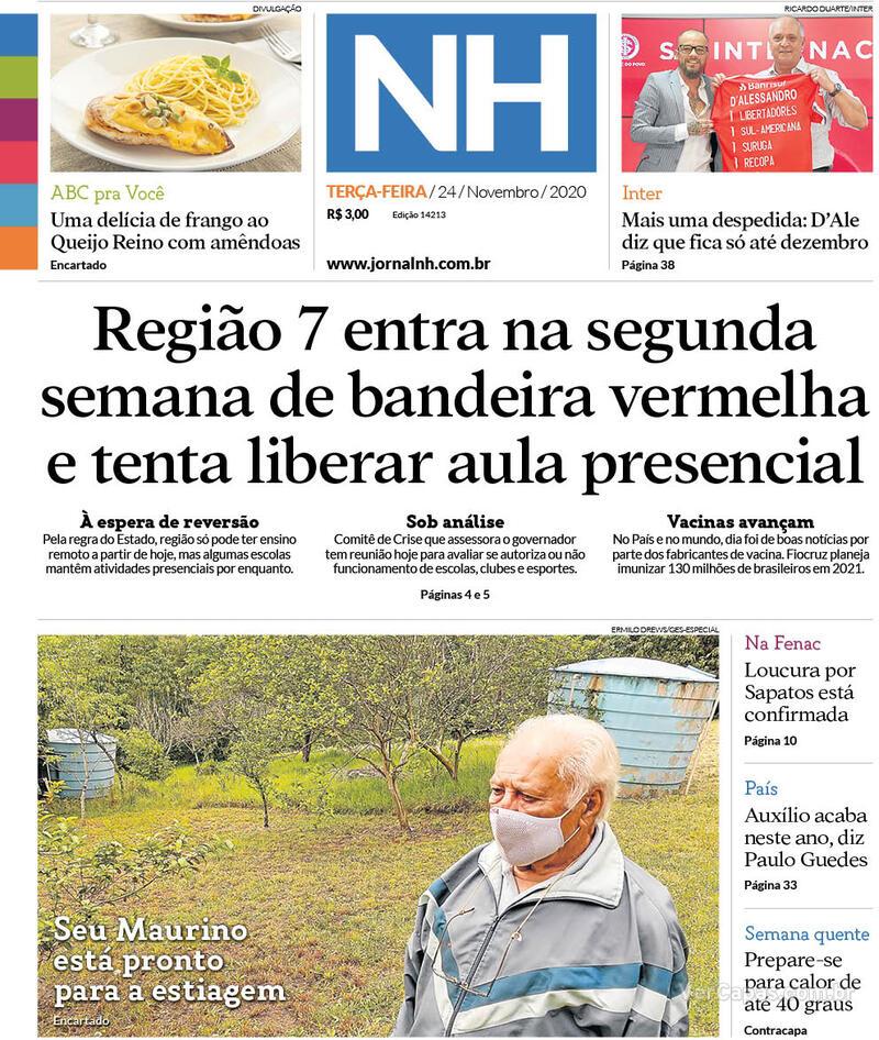 Capa do jornal Jornal NH 24/11/2020