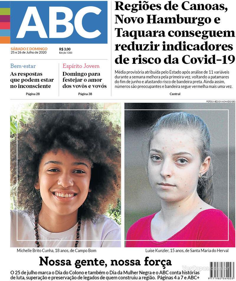 Capa do jornal Jornal NH 25/07/2020