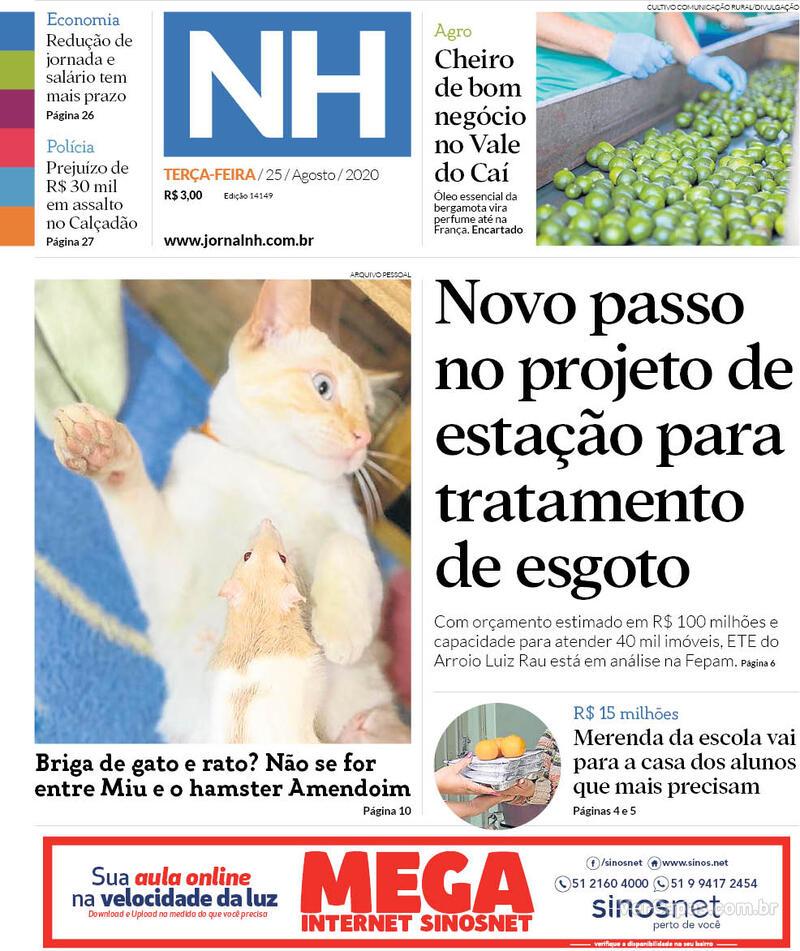 Capa do jornal Jornal NH 25/08/2020