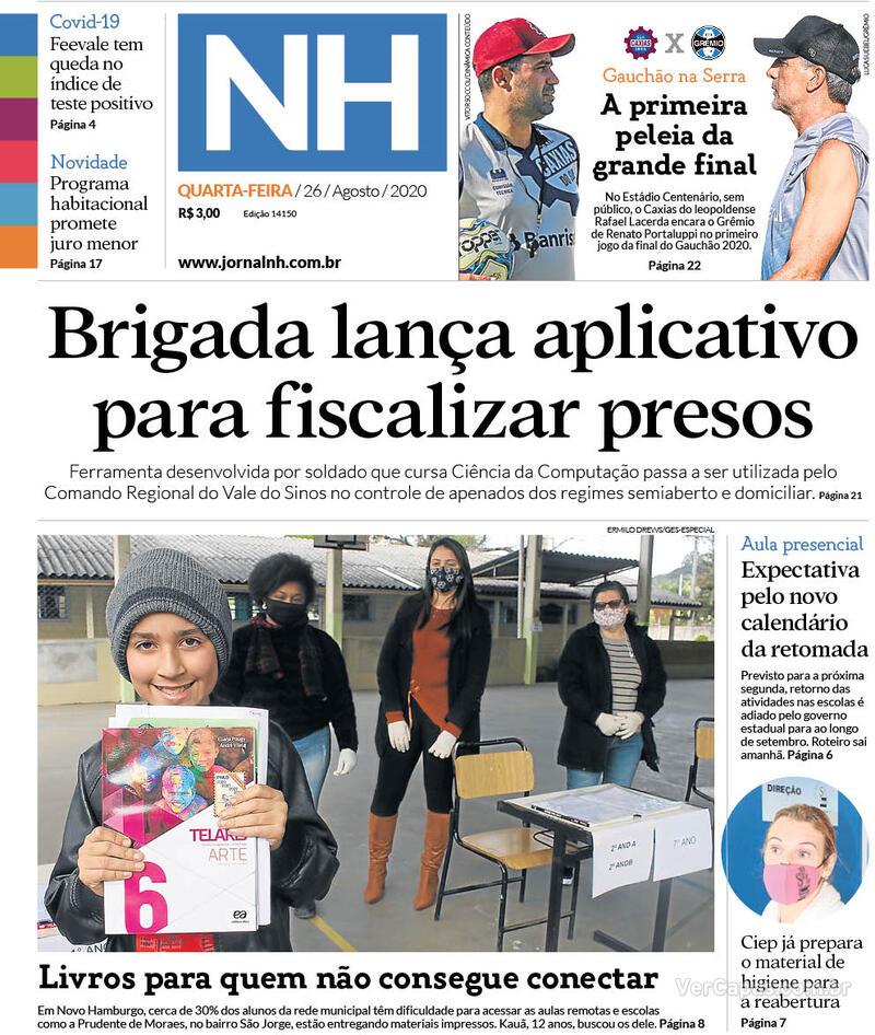 Capa do jornal Jornal NH 26/08/2020