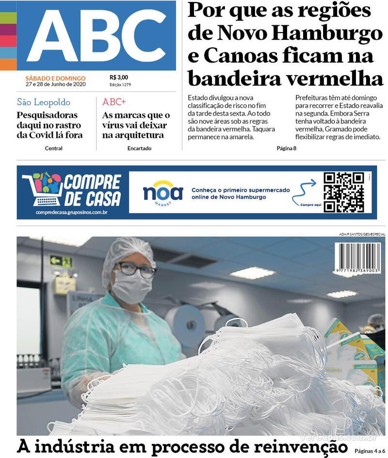 Capa do jornal Jornal NH 27/06/2020