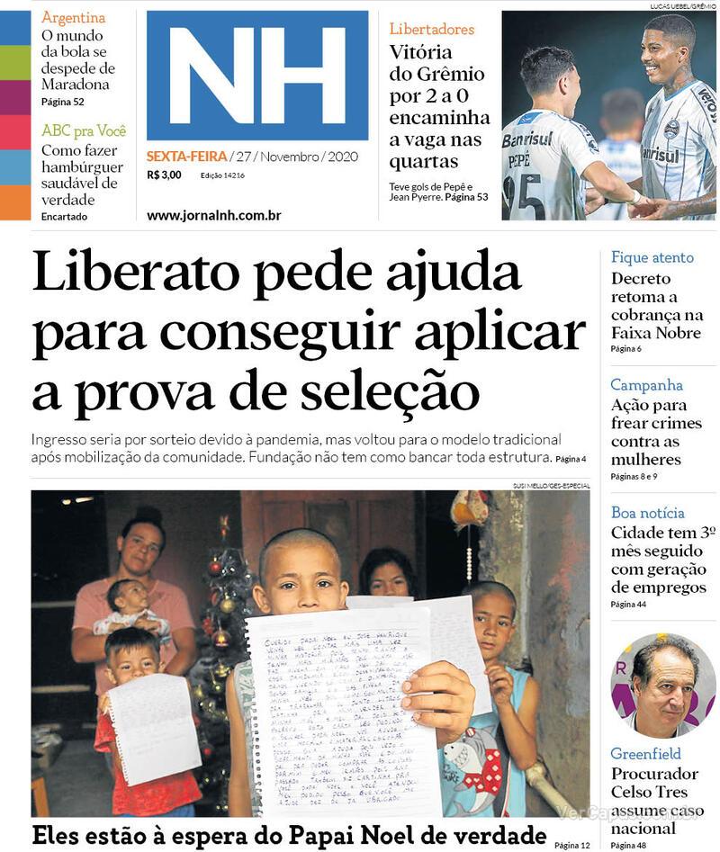 Capa do jornal Jornal NH 27/11/2020