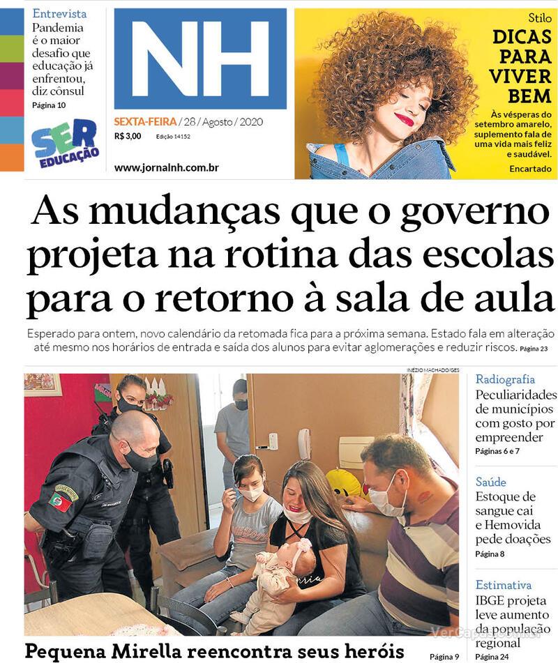 Capa do jornal Jornal NH 28/08/2020