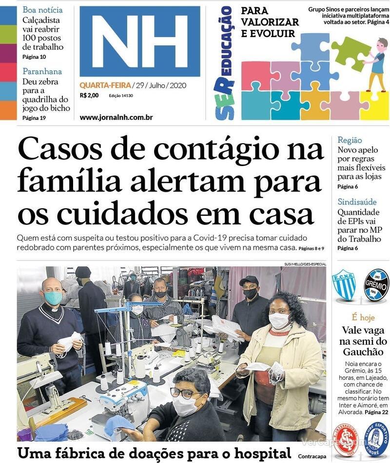 Capa do jornal Jornal NH 29/07/2020