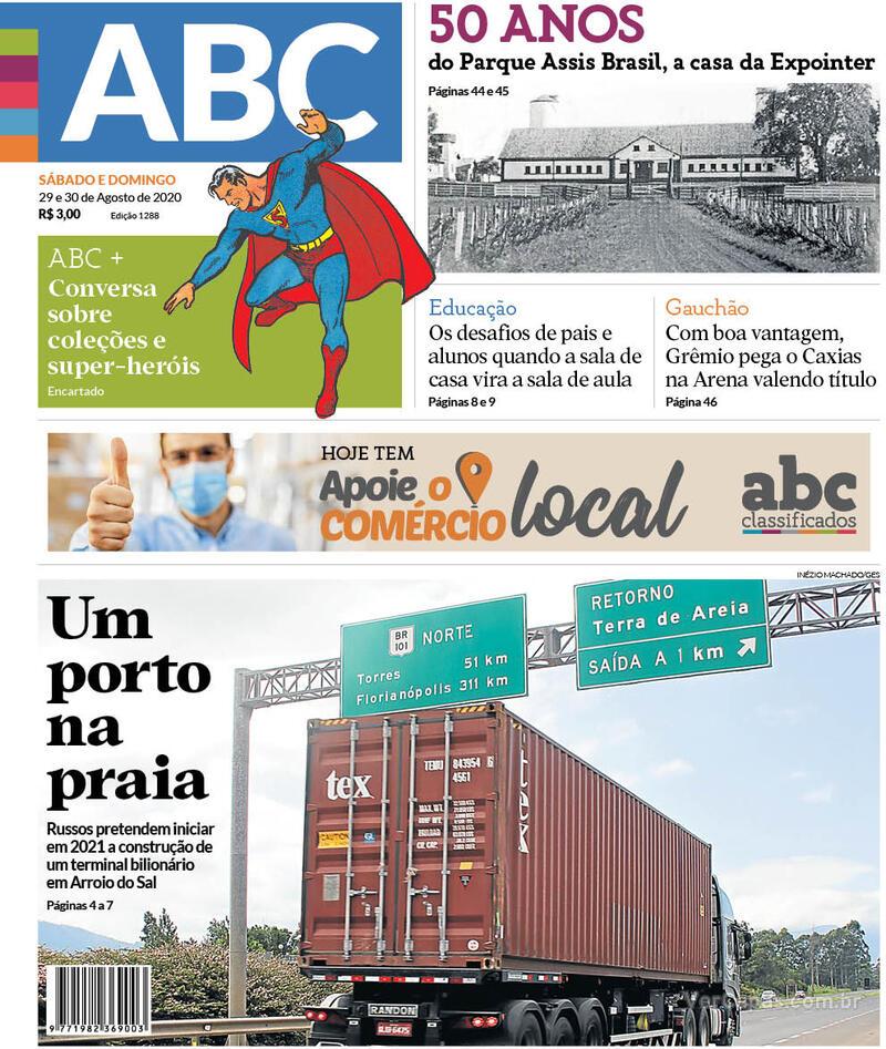 Capa do jornal Jornal NH 29/08/2020
