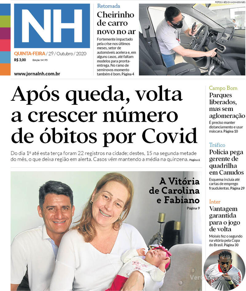 Capa do jornal Jornal NH 29/10/2020