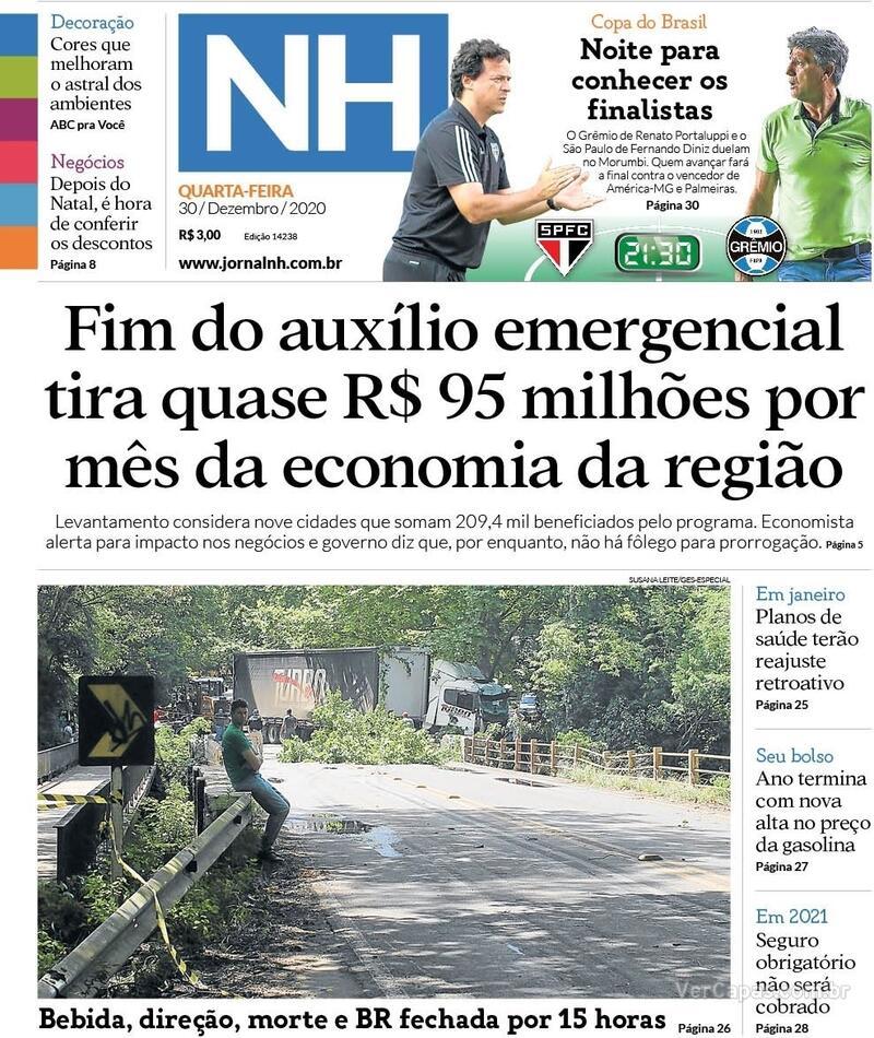 Capa do jornal Jornal NH 30/12/2020