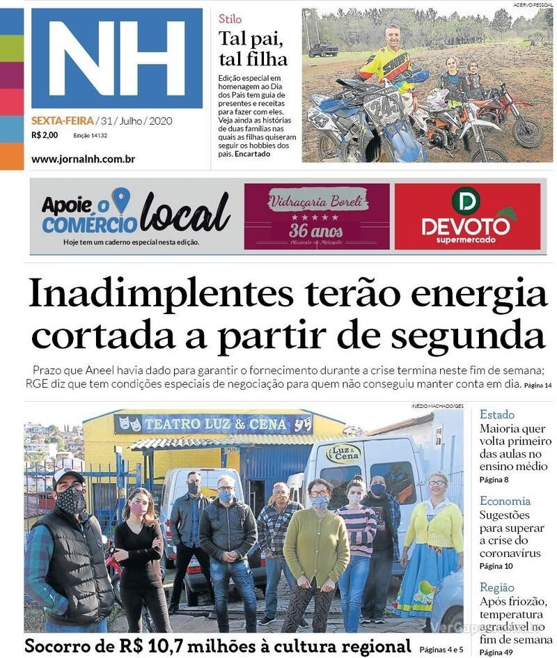 Capa do jornal Jornal NH 31/07/2020