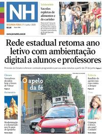 Capa do jornal Jornal NH 01/06/2020