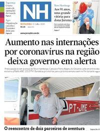 Capa do jornal Jornal NH 03/07/2020