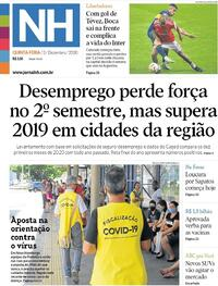 Capa do jornal Jornal NH 03/12/2020