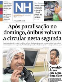 Capa do jornal Jornal NH 08/06/2020