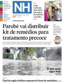 Capa do jornal Jornal NH 08/07/2020