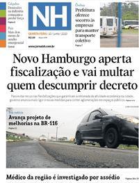 Capa do jornal Jornal NH 10/06/2020