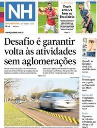 Capa do jornal Jornal NH 10/08/2020