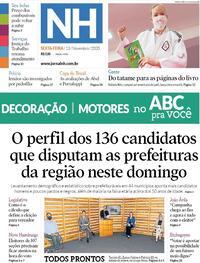 Capa do jornal Jornal NH 13/11/2020