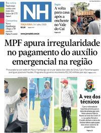 Capa do jornal Jornal NH 14/07/2020