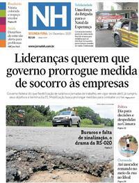 Capa do jornal Jornal NH 14/12/2020
