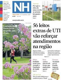 Capa do jornal Jornal NH 15/12/2020