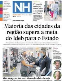Capa do jornal Jornal NH 16/09/2020