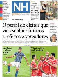 Capa do jornal Jornal NH 17/09/2020