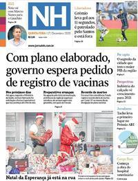 Capa do jornal Jornal NH 17/12/2020