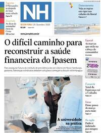 Capa do jornal Jornal NH 18/12/2020