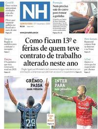 Capa do jornal Jornal NH 19/11/2020