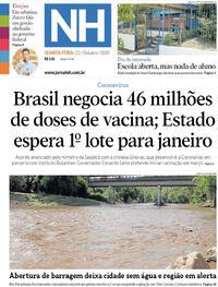 Capa do jornal Jornal NH 21/10/2020