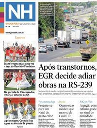 Capa do jornal Jornal NH 21/12/2020