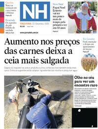 Capa do jornal Jornal NH 22/12/2020