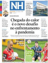 Capa do jornal Jornal NH 23/10/2020