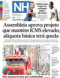 Capa do jornal Jornal NH 23/12/2020