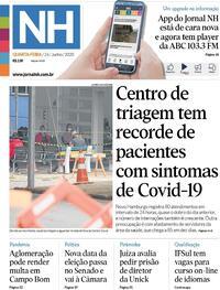 Capa do jornal Jornal NH 24/06/2020