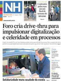 Capa do jornal Jornal NH 24/08/2020