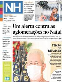 Capa do jornal Jornal NH 24/12/2020