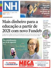 Capa do jornal Jornal NH 27/08/2020