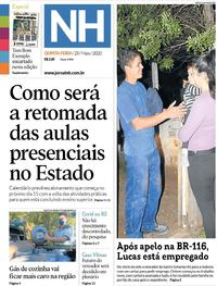 Capa do jornal Jornal NH 28/05/2020