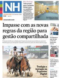 Capa do jornal Jornal NH 28/09/2020