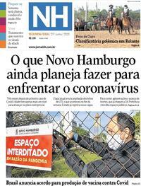 Capa do jornal Jornal NH 29/06/2020