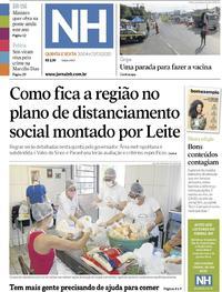 Capa do jornal Jornal NH 30/04/2020
